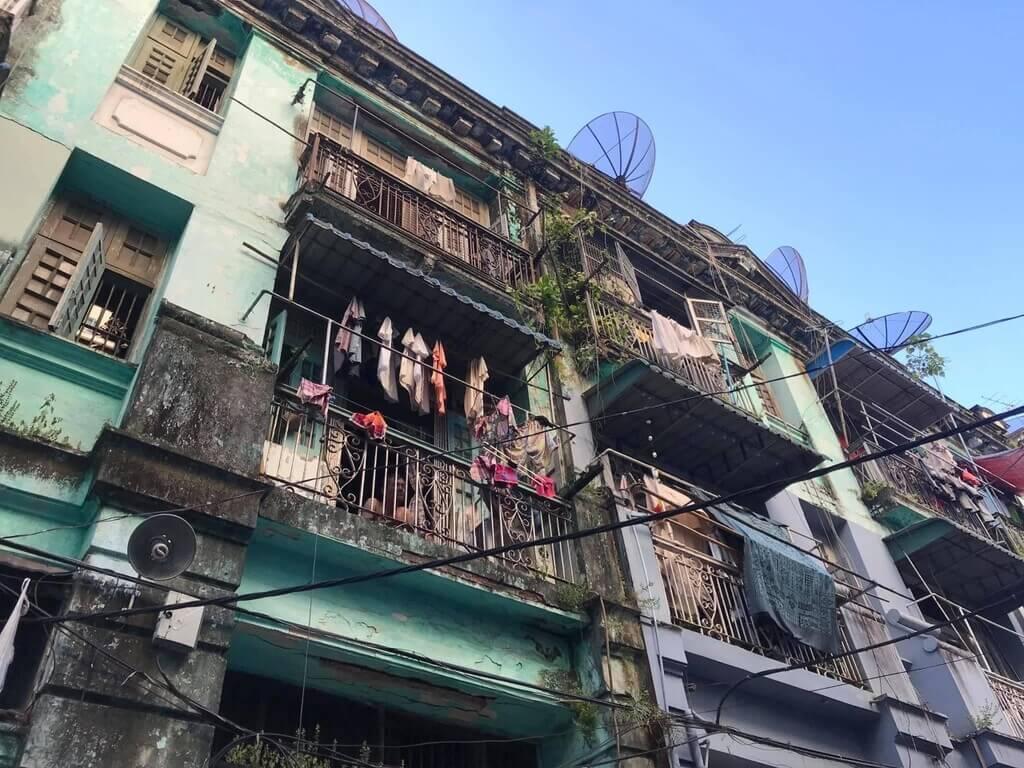 Un edificio de Yangon