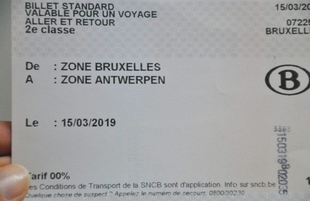 Billete de tren Bruselas-Amberes
