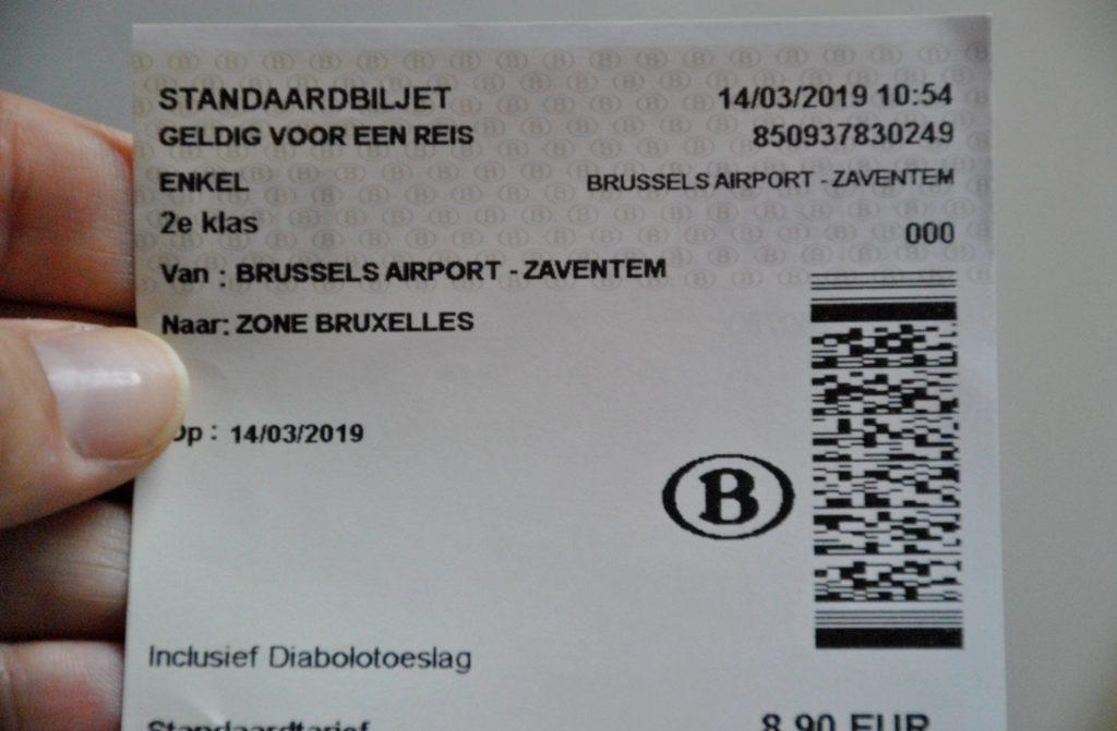 Billete de tren del aeropuerto de Zaventem al centro de Bruselas