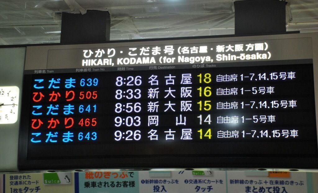 Paneles informativos de Shinkansen (estación de Kioto)