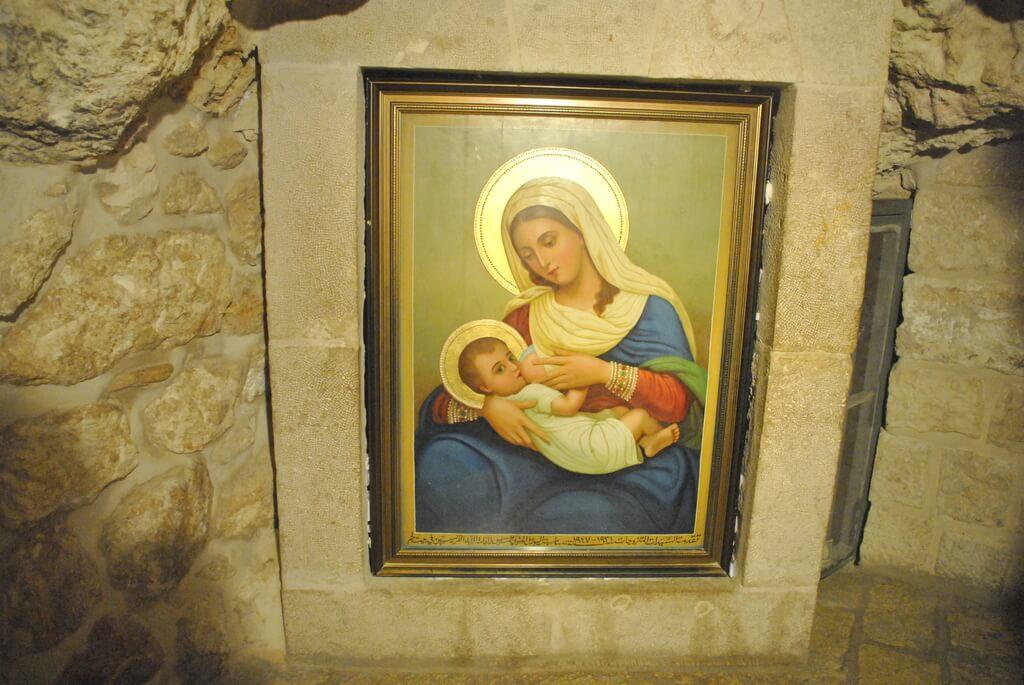 Cuadro de María y el Niño en la Gruta de la leche