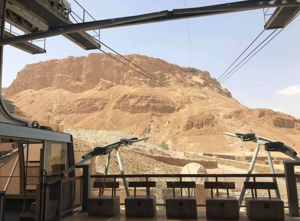 Cabina del funicular a los pies de las ruinas de Masada