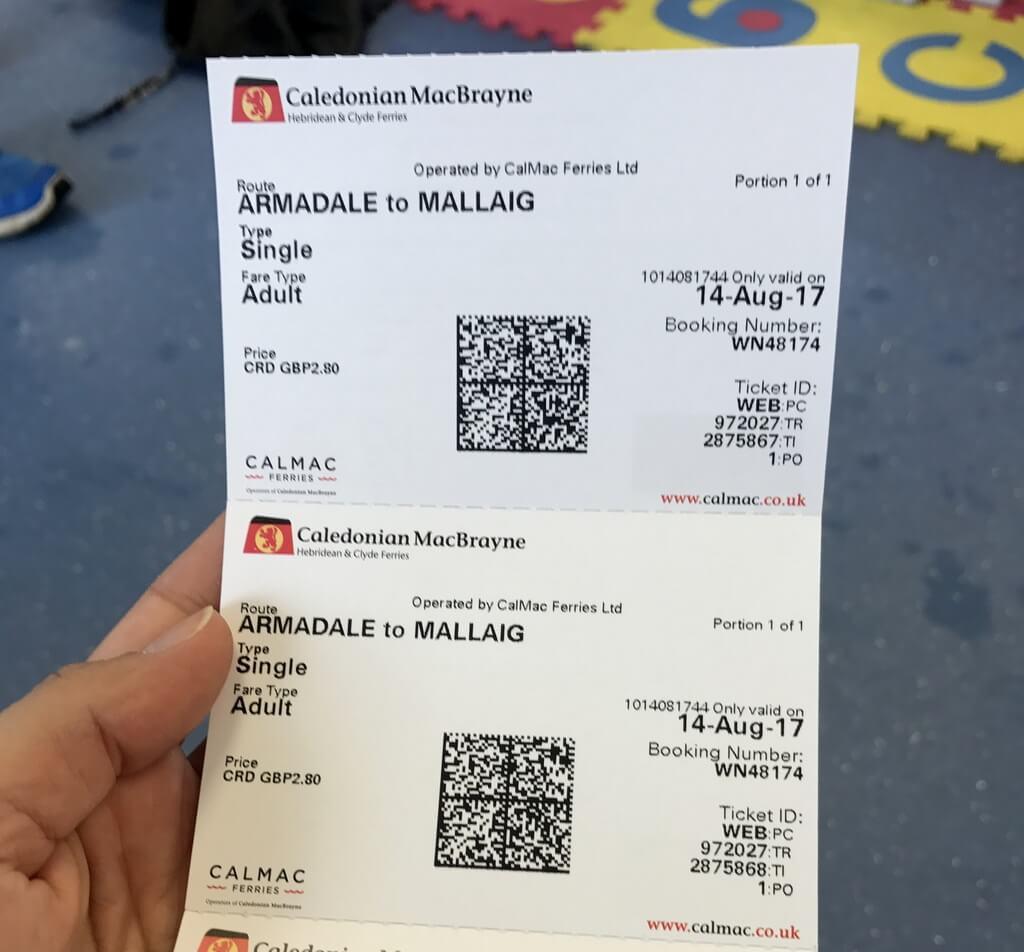 Billetes físicos del ferry Armadale-Mallaig