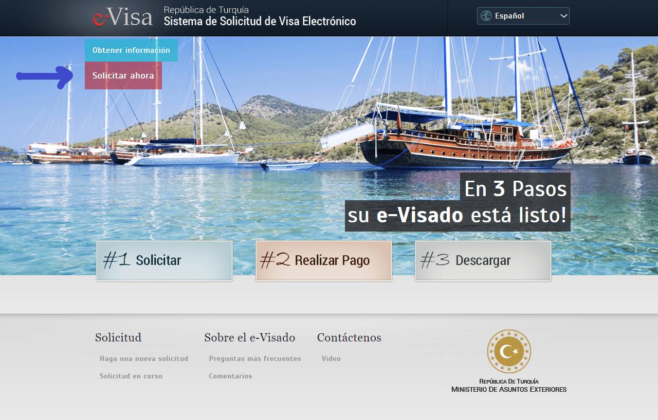 Página web oficial para solicitar el visado turco