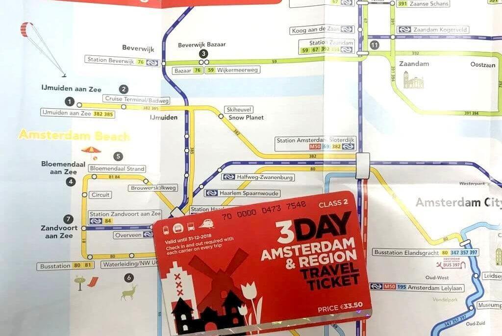cómo usar la tarjeta Amsterdam travel Region Ticket