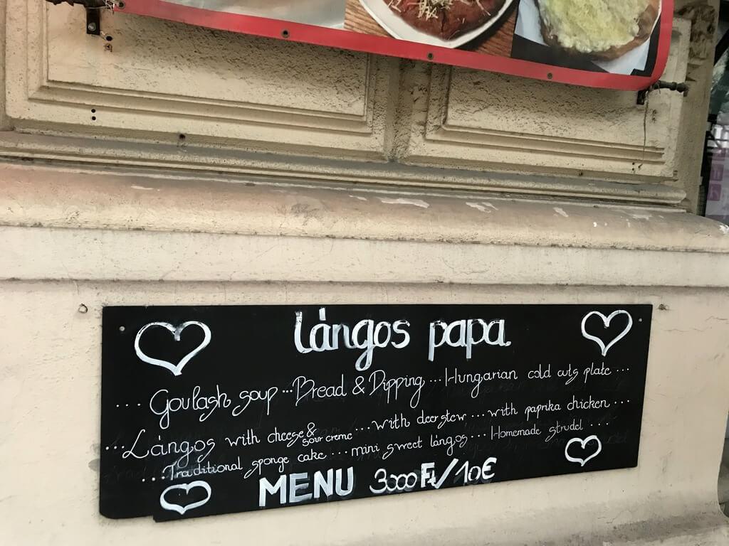 Langos papa, restaurante comida húngara budapest
