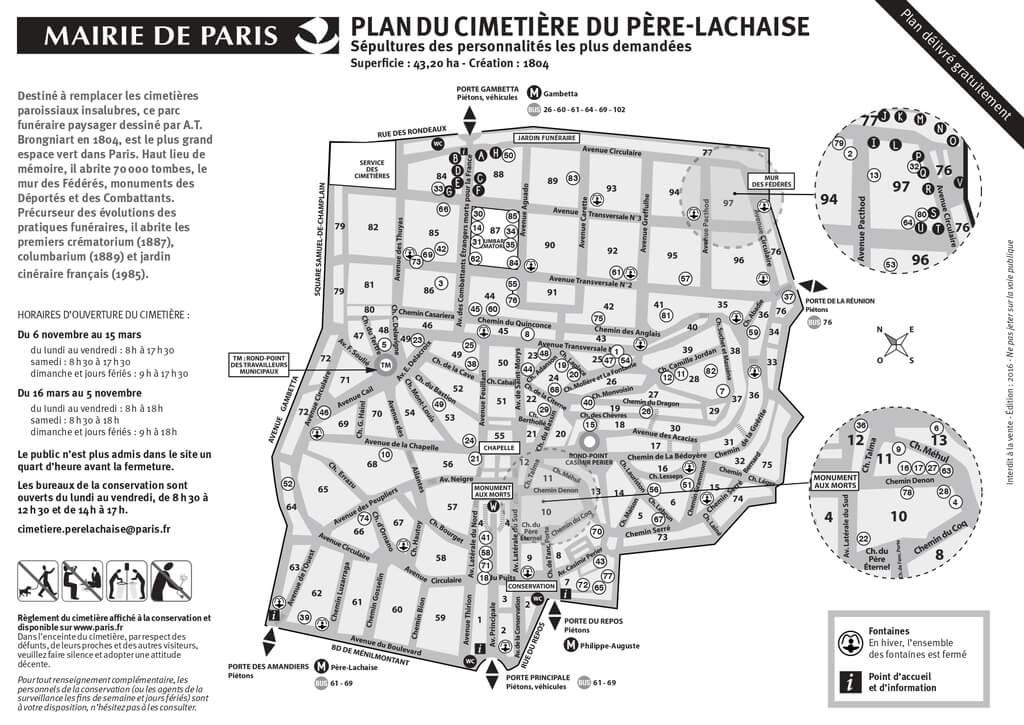 Plano del Cementerio Père Lachaise