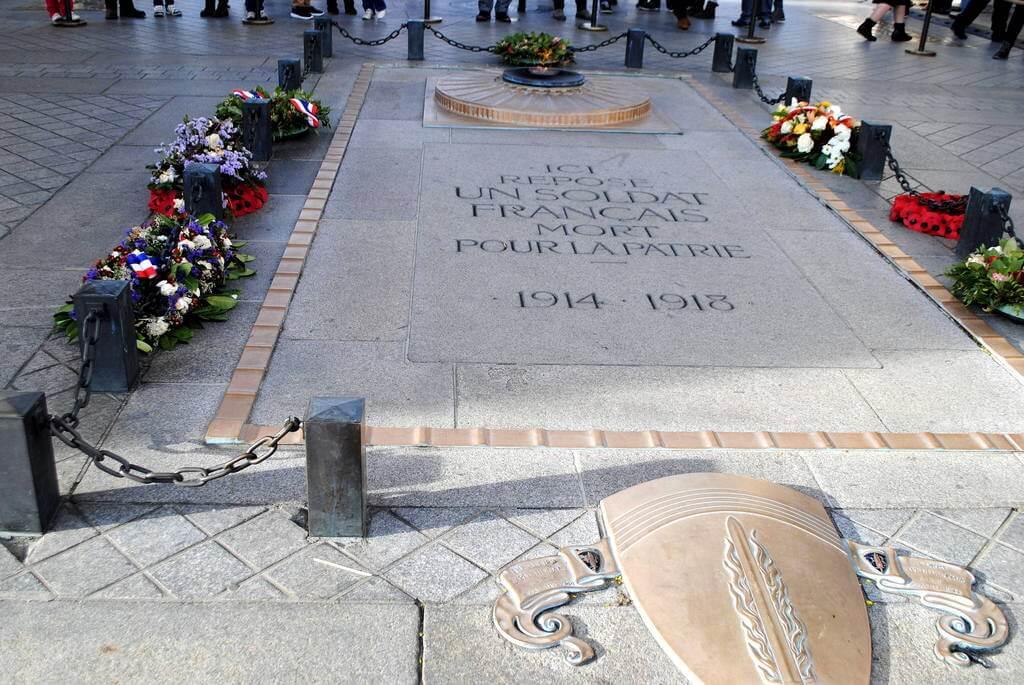 Tumba del soldado desconocido a los pies del Arco del Triunfo