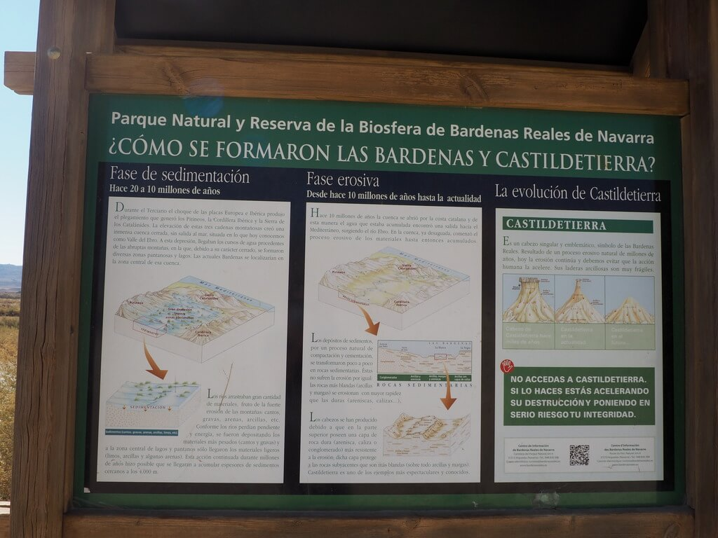 Cartel explicativo de los procesos erosivos de las Bárdenas