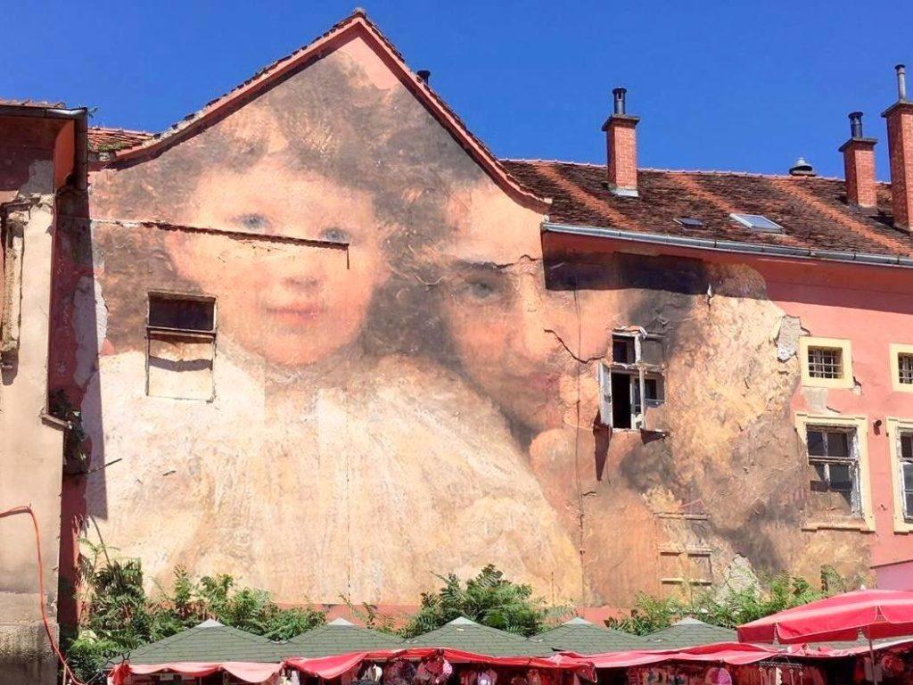 Precioso mural junto al Mercado de Dolac