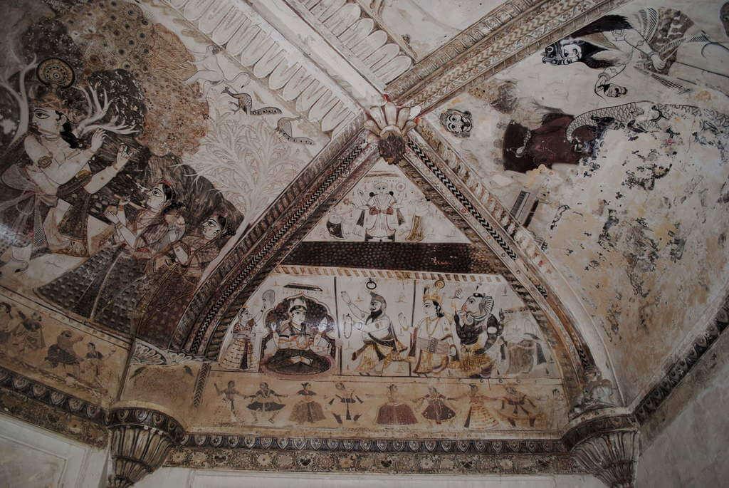 Fresco en interior del templo Lakshmi Narayan