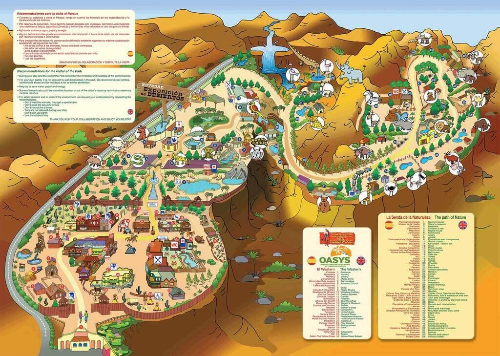 Plano de Oasys Minihollywood, donde puede verse la piscina
